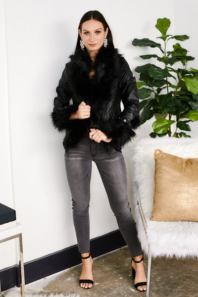 fab'rik - Zealand Faux Leather Fur Detail Jacket image thumbnail