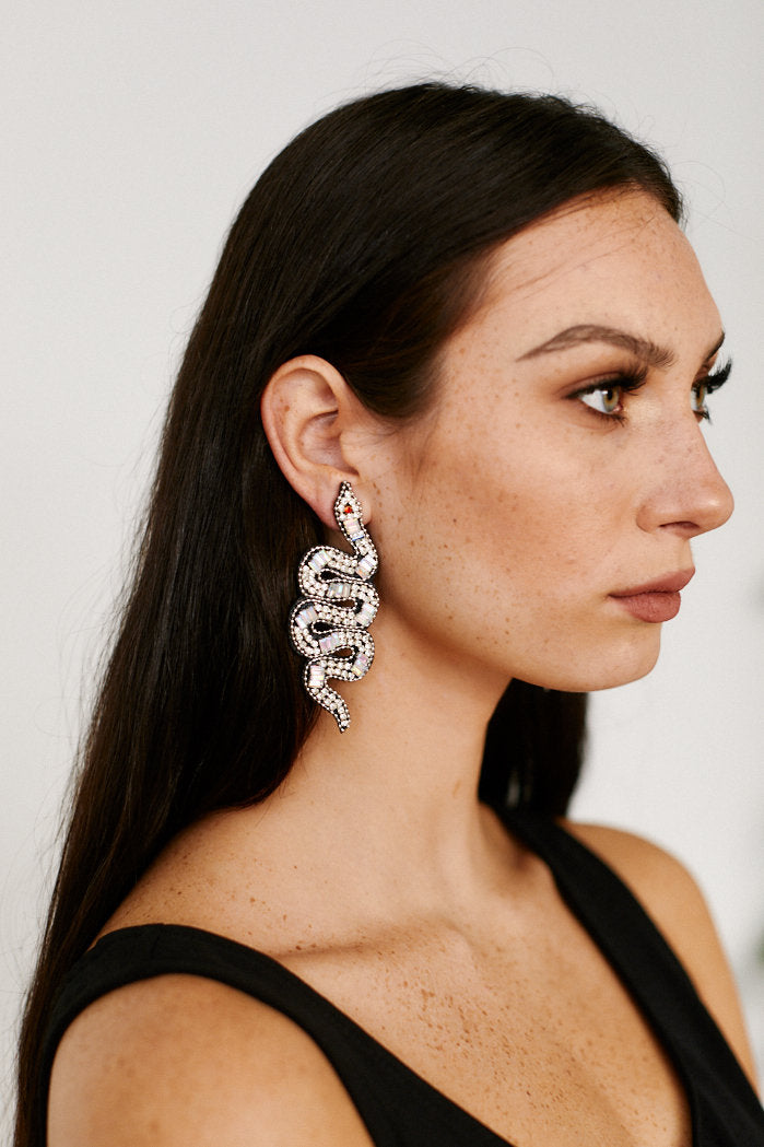 fab'rik - Beaded Snake Earrings - Silver ProductImage-13305845055546