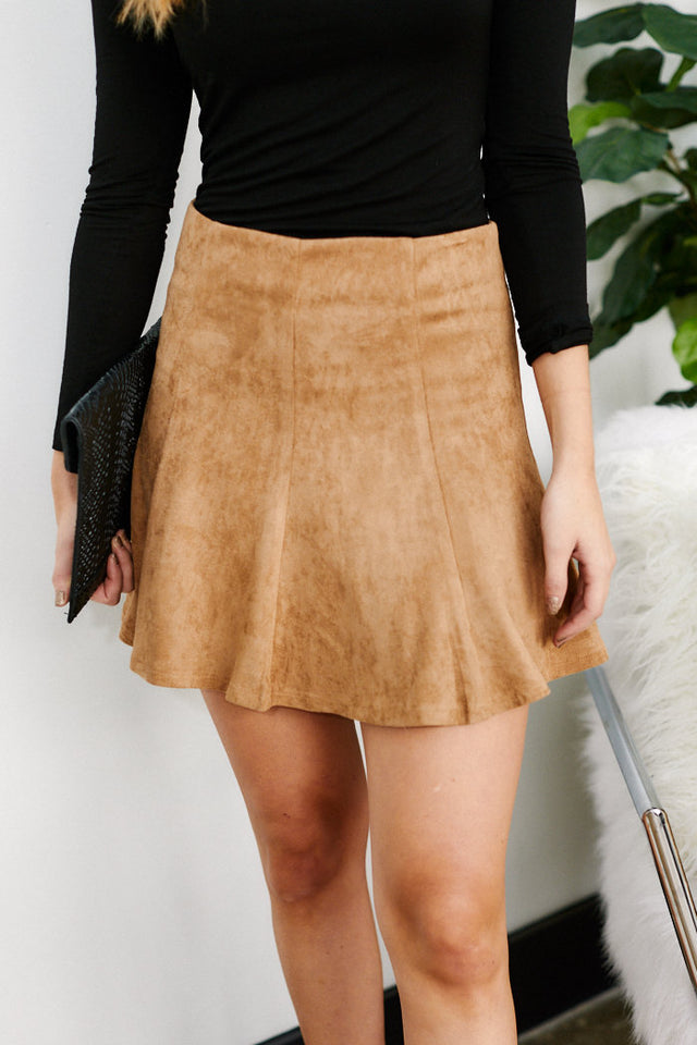 Cornell Faux Suede Swing Skirt