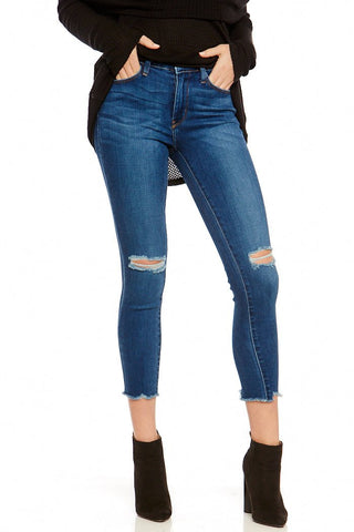 Distressed Raw Hem Skinny Denim