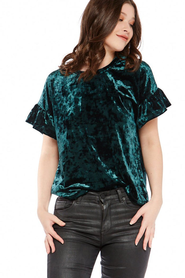 Z Supply Crushed Velour Ruffle Sleeve Tee