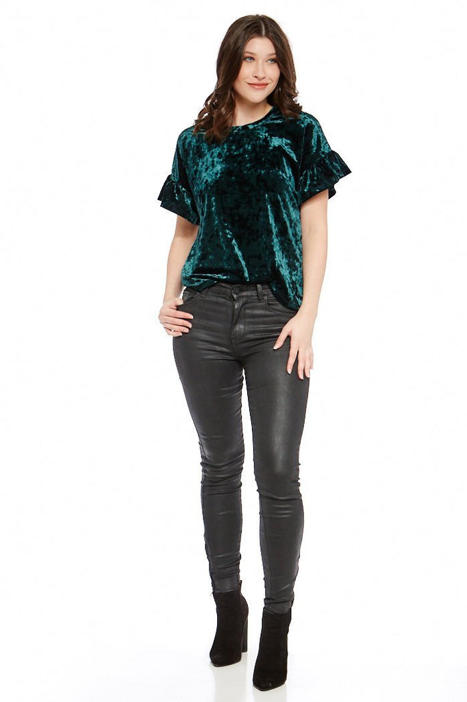 Crushed Velour Ruffle Tee