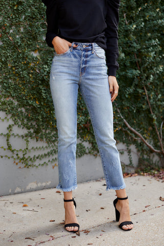 Nora Distressed Straight Denim