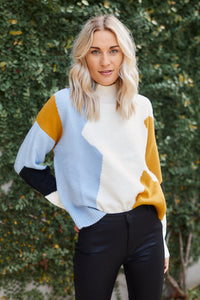 Ensley Color Block Mock Neck  Sweater