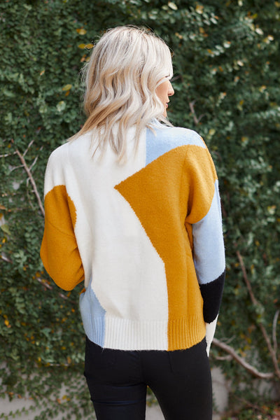fab'rik - PreOrder Ensley Color Block Mock Neck  Sweater image thumbnail