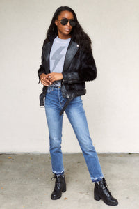 SALE - Mikah Faux Fur Leather Jacket