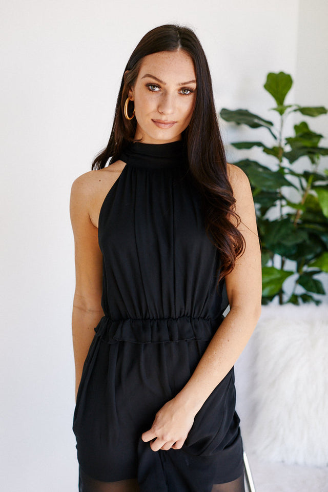 Brooke High Neck Sheer Detail Midi Dress