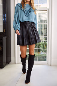 Kolette Faux Leather Pleated Mini Skirt