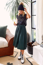 Load image into Gallery viewer, Tavi Faux Leather Pleated Midi Skirt