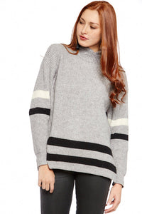 Thalia Oversized Stripe Detail Turtleneck