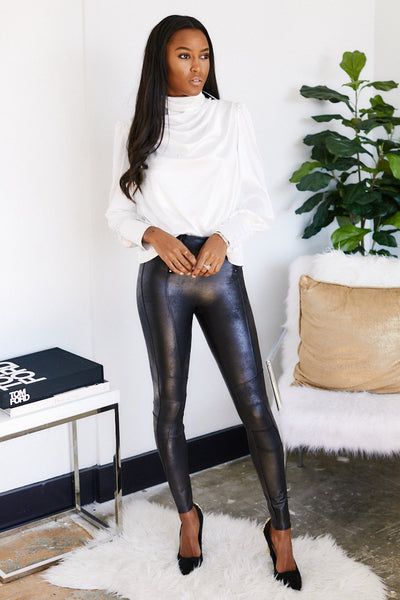 fab'rik - Spanx Zip Detail Faux Leather Legging image thumbnail