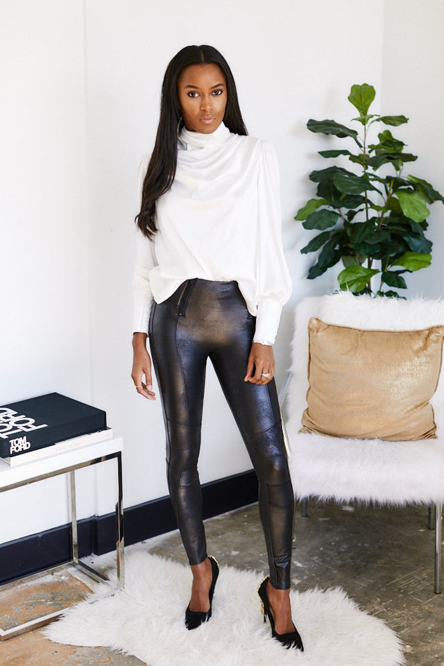 Spanx Zip Detail Faux Leather Legging