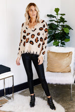 Load image into Gallery viewer, Callie Distressed Leopard V-Neck Sweater