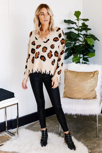 Callie Distressed Leopard V-Neck Sweater