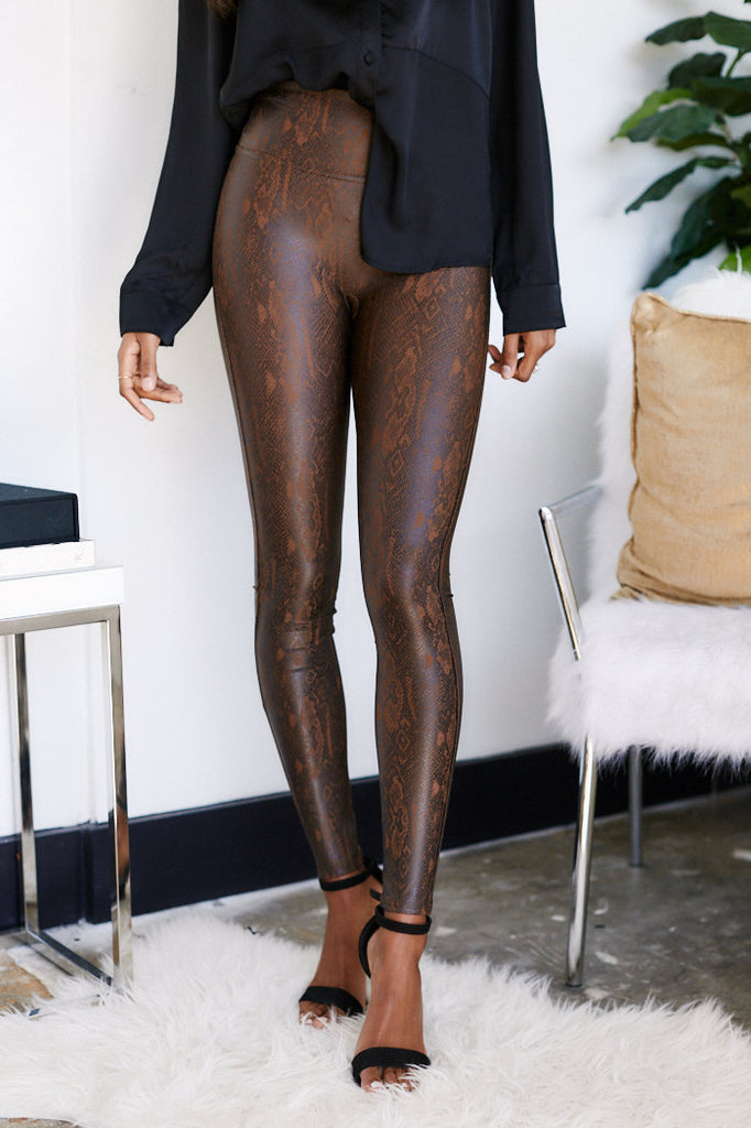 Spanx Faux Leather Snake Leggings