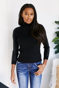Caelum Long Sleeve Shoulder Detail Turtleneck Sweater