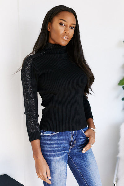 fab'rik - Caelum Long Sleeve Shoulder Detail Turtleneck Sweater image thumbnail