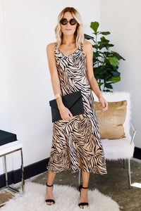 Luna Zebra Satin Midi Slip Dress