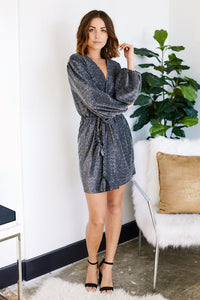 Larissa Metallic Wrap Dress
