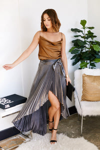 Lila Pleated Wrap Skirt