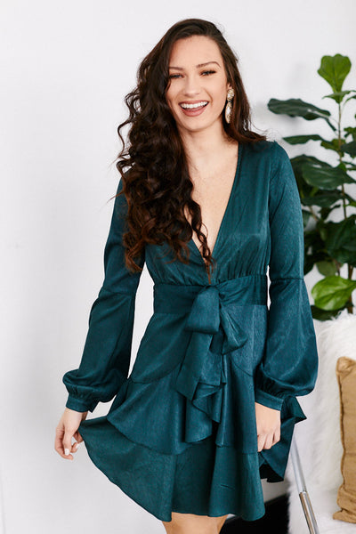 fab'rik - Daria Ruffle Hem Long Sleeve Dress image thumbnail