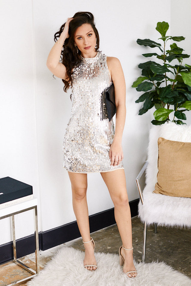 Alya Sequin Mock Neck Mini Dress