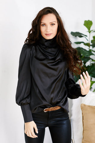 Evangeline Cowl Neck Long Sleeve Blouse