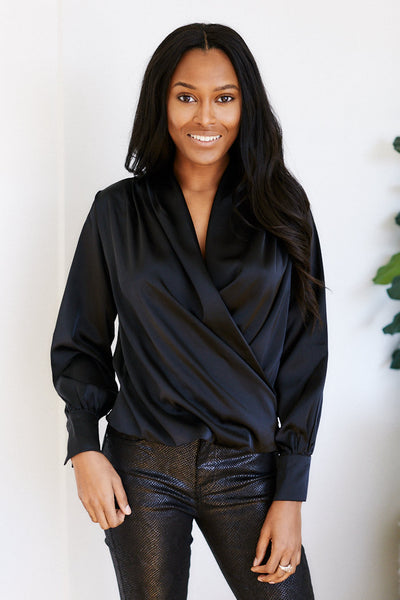 fab'rik - Nina Long Sleeve Wrap Satin Blouse image thumbnail