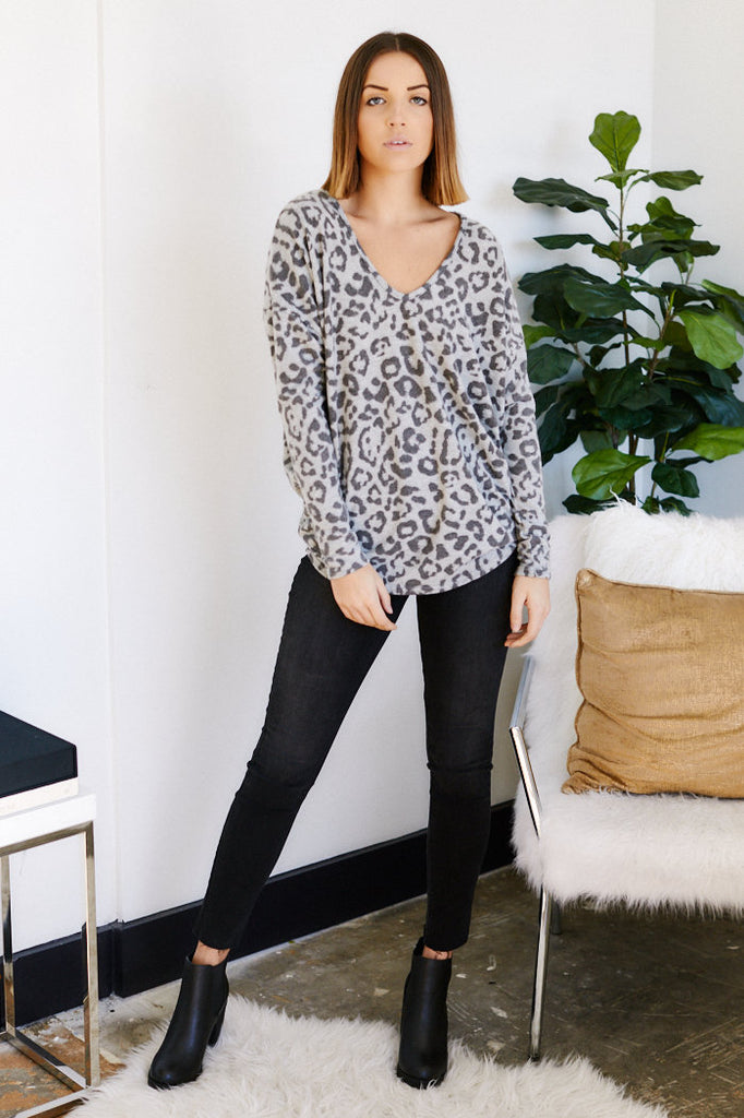 Athens Leopard Print Long Sleeve Tunic
