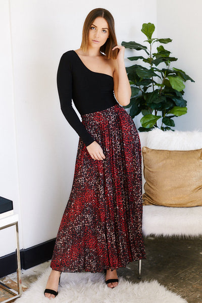 fab'rik - Caterina Leopard Pleated Maxi Skirt image thumbnail