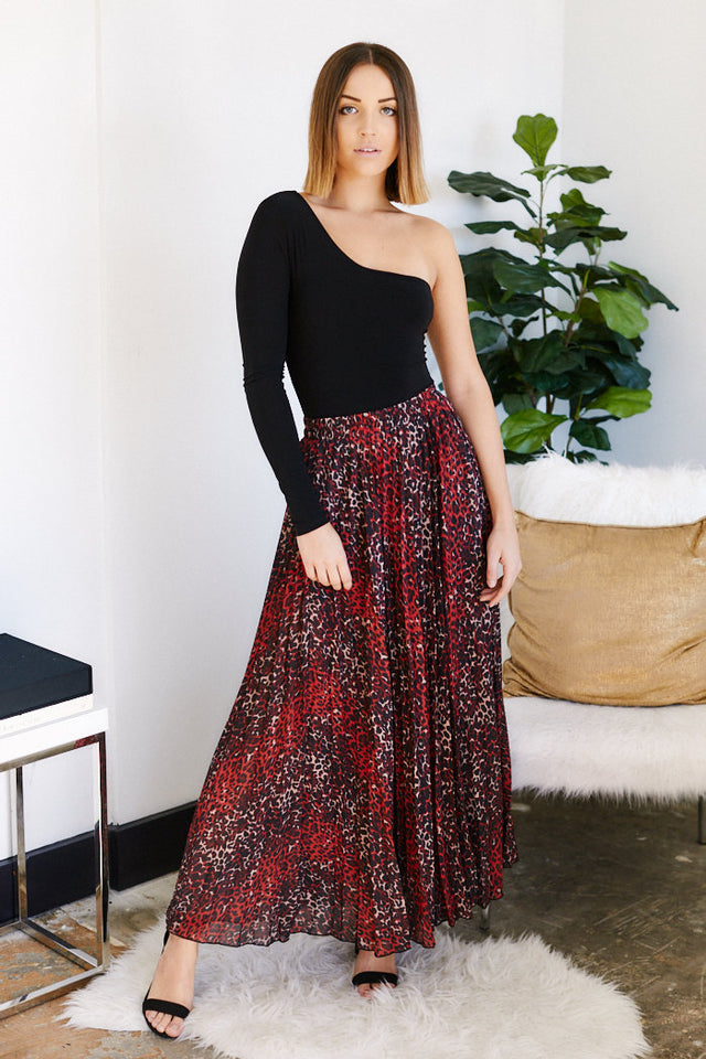 Caterina Leopard Pleated Maxi Skirt