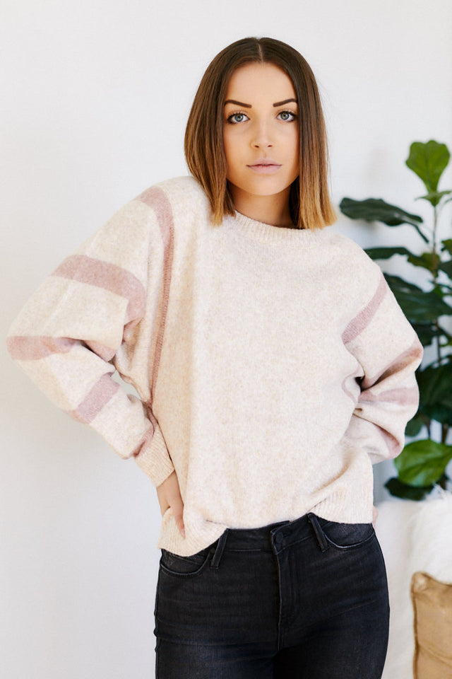 Maddy Stripe Sleeve Sweater