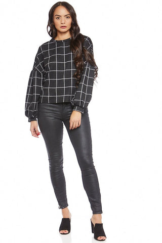 Carmen Plaid Balloon Sleeve Sweatshirt