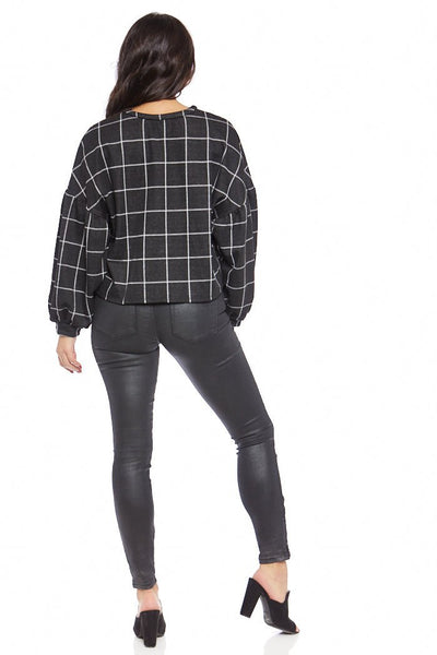 fab'rik - Carmen Plaid Balloon Sleeve Sweatshirt image thumbnail