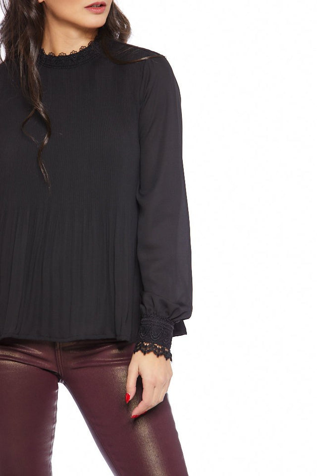 Selma Pleated Mock Neck Blouse