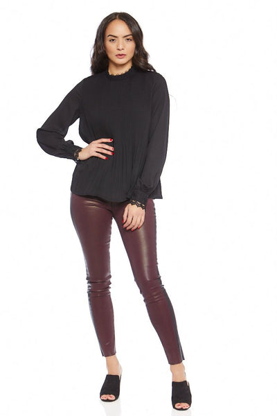 fab'rik - Selma Pleated Mock Neck Blouse image thumbnail