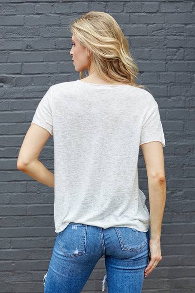 fab'rik - SIDNEY RAW HEM V-NECK TOP image thumbnail