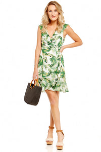 GIZZY PALM PRINT WRAP DRESS
