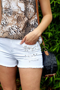 fab'rik - VERVET BY FLYING MONKEY HIGH RISE BEJEWLED SHORTS ProductImage-4618931601466