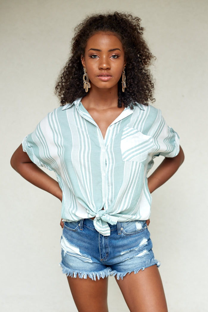 fab'rik - HARLEY STRIPE SHORT SLEEVE BUTTON UP ProductImage-4619186503738