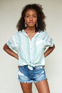 fab'rik - HARLEY STRIPE SHORT SLEEVE BUTTON UP ProductImage-4619186339898