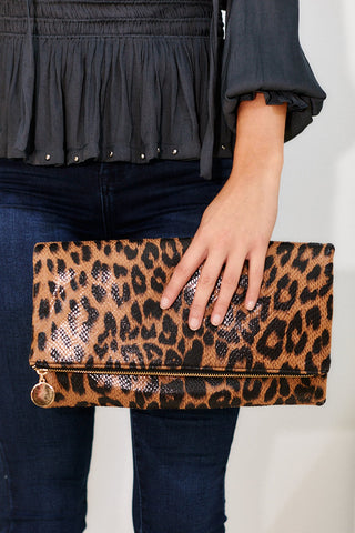 Sammi Cheetah Fold Over Clutch - Brown