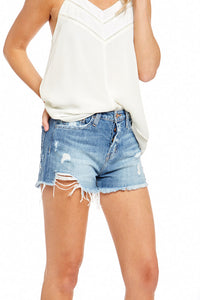 FLYING MONKEY HIGH RISE BUTTON UP RAW HEM SHORTS