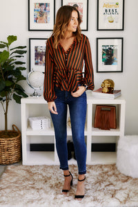 Catherine Striped Peplum Top