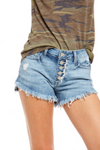 Load image into Gallery viewer, JUST USA BUTTON DOWN UNBALANCED HEM SHORTS