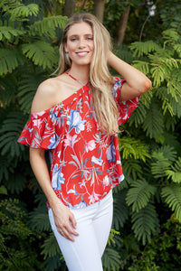 RUMI FLORAL COLD SHOULDER TOP