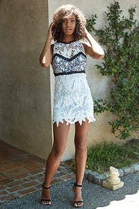 FLORENCE LACE COLORBLOCK DRESS
