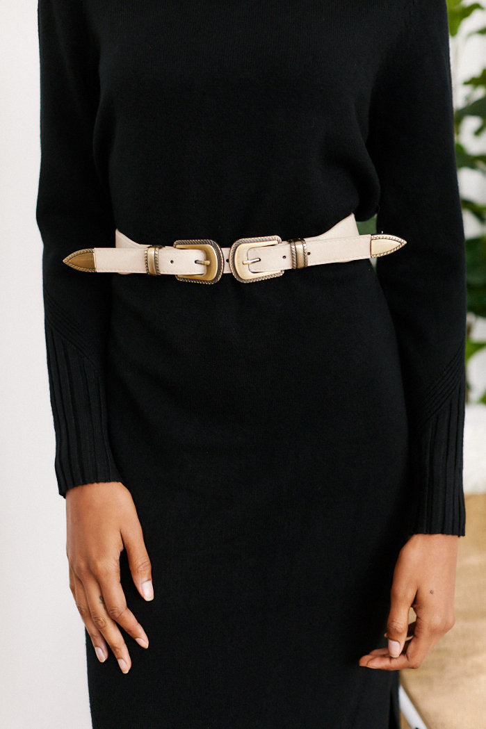 fab'rik - Dana Double Buckle Faux Leather Belt - Beige ProductImage-13289445883962