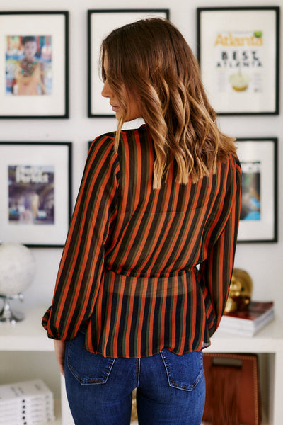 fab'rik - Catherine Striped Peplum Top image thumbnail