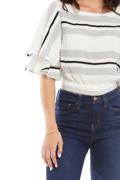 fab'rik - ALICE STRIPED DRAPED SLEEVE TOP image thumbnail